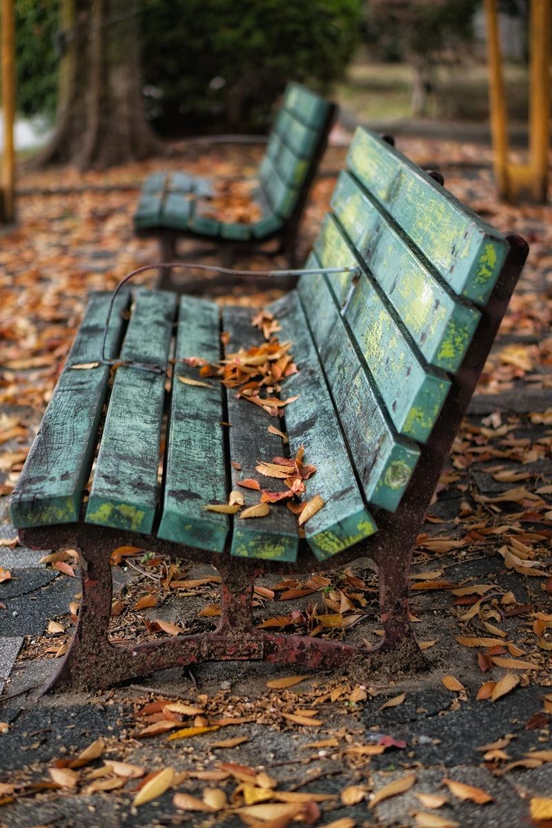 落ち葉のある青いベンチ
